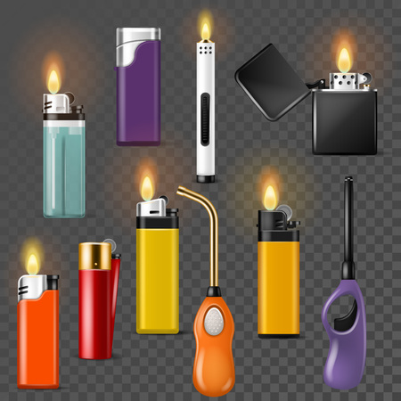 Lighter vector cigarette-lighter with fire or flame light to burn cigarette illustration set of flammable smoking equipment isolated on transparent background.