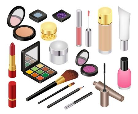 Kosmetische Vektorschönheit bilden Kosmetiklippenstift, für schöne Frau mit Make-up-Grundierungspulver oder Lidschatten-Illustrationssatz von Kosmetikerzubehör isometrisch isoliert auf weißem Hintergrund.