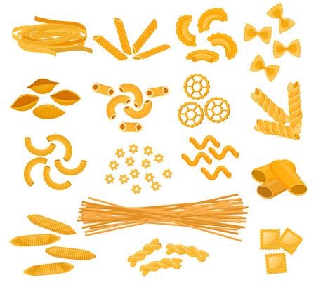 Vettore di pasta che cucina maccheroni e spaghetti e ingredienti maccheronici del set di illustrazione di cucina italiana di cibo tradizionale in Italia isolato su priorità bassa bianca