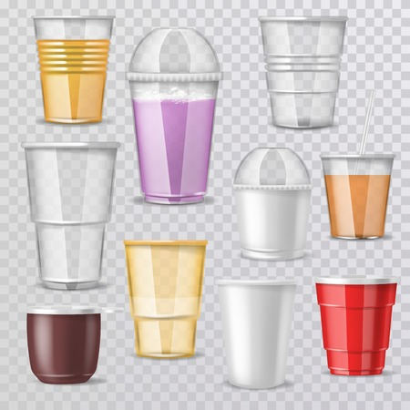 Plastic glass vector empty plastic-cup or blank coffee-cup mockup disposable drinks container for branding illustration realistic set of beverage takeaway isolated on transparent background.