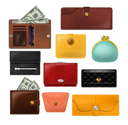 Portafoglio vettore borsa in pelle e portafoglio aziendale con banconote soldi illustrazione set di pagamento finanziario simbolo portamonete isolato su sfondo bianco.