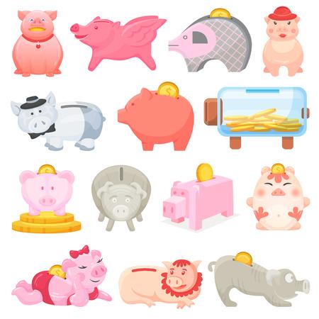 Sparschwein Vektor Geld Schweineschachtel Finanzbank oder Sparbüchse mit Investitionsersparnis und Münzen Illustration Satz Sparschwein oder Sparbüchse mit Bargeld isoliert auf transparentem Hintergrund.