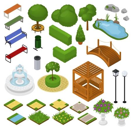 Parque vectorial con césped de árboles de jardín verde y fuente o estanque en el conjunto de ilustración de la ciudad de avenida isométrica en paisaje urbano o paisaje aislado sobre fondo blanco. Ilustración de vector