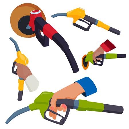 Remplissage de pistolet de station-service dans les mains de personnes raffinerie ravitaillement en carburant illustration vectorielle de réservoir de pétrole service outil Vecteurs