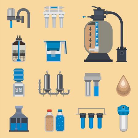 Water purification icon faucet fresh recycle pump set. Wastewater treatment collection vector illustration. Flat design natural plumbing pipeline industrial plant filtered sign.