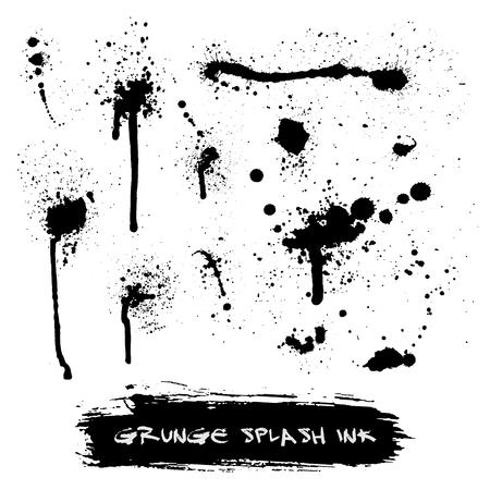 Vector set of ink splashes blots splatter collection grunge design black white and art messy backdrop color dirty liquid spatter graphic silhouette illustration. Artistic dot dirt pattern spatter.