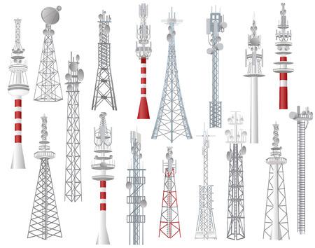 Radiotoren vector torende communicatie technologie antenne bouw in stad met netwerk draadloos signaal station illustratie set torenhoge uitzendapparatuur geïsoleerd op een witte achtergrond.