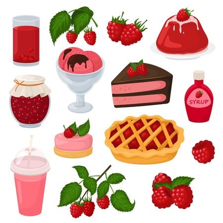 Himbeervektor-Beerenreife rote Beere für frischen Saft oder saftige Marmelade und süßen Dessertkuchen mit Eiscremeillustration beerenartiger Satz gesunder Diätnahrung lokalisiert auf weißem Hintergrund.