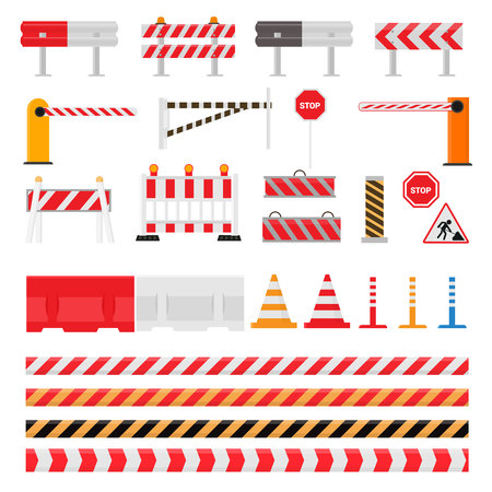 Road barrier vector street traffic-barrier warning and barricade blocks on highway illustration set of roadblock detour and blocked roadwork barrier isolated on white background.