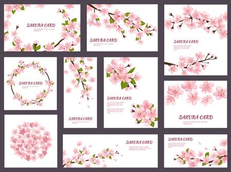 Sakura wektor kwiat wiśni kartki z wiosennych różowych kwitnących kwiatów ilustracja japoński zestaw ozdoba szablon zaproszenia ślubne kwitnące na białym tle na białym tle.