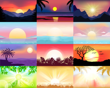 Sunset vector sunrise with Hawaii palms or mountain silhouette on backdrop illustration set of tropical sunlight background and summer sunshine seacoast wallpaper.
