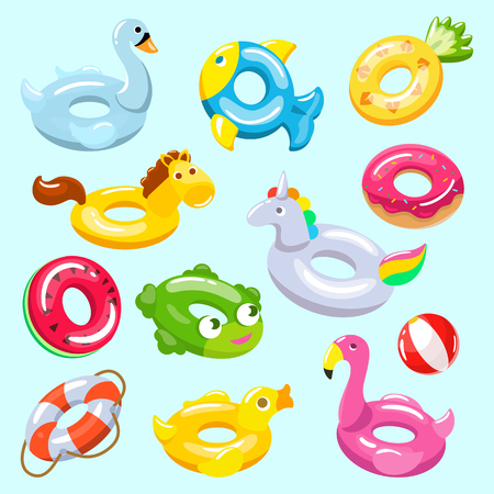 Inflatable vector inflated swimming ring and life-ring in pool for summer vacation illustration set of inflation rubber toys flamingo or unicorn isolated on background. Vetores