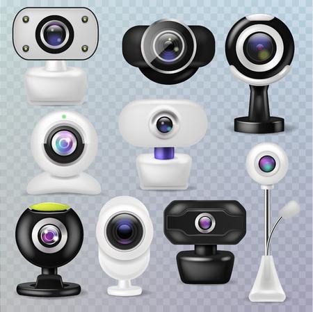 Conjunto de ilustración de dispositivo de comunicación de internet de tecnología digital de cámara web de vector de cámara web de gadget de conexión de conferencia de negocios sobre fondo transparente.