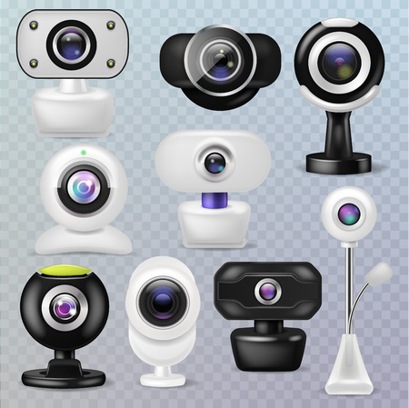 Web camera vector webcam digital technology internet communication device illustration set of business conference connection gadget on transparent background.