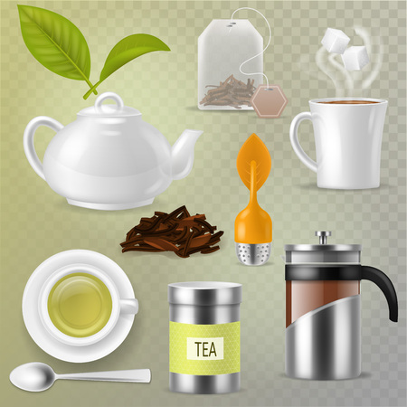 Tea vector drink herbal beverage with dry leaves in tea-cup and teapot or french presson teatime illustration set of mug or cup and tea caddy isolated on transparent background. Ilustrace