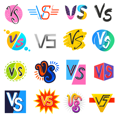 VS vector versus lettering symbol v s in explosion fight or comic style font in typography illustration set of vs logotype competition or game battle isolated on white background