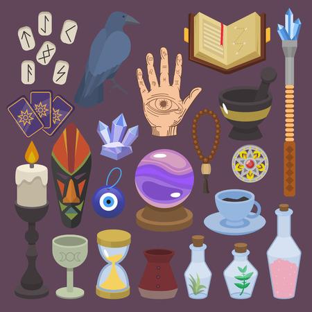 Adivinación vector adivinación o magia afortunada de mago con cartas del tarot y velas ilustración conjunto de astrología o signos esotéricos místicos aislados sobre fondo.