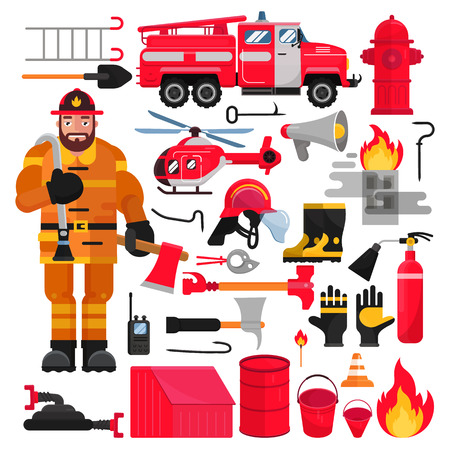 Firefighter vector firefighting equipment firehose hydrant and fire extinguisher illustration firefighting set of firemans uniform with helmet and fire-engine helicoptor isolated on white background Illustration