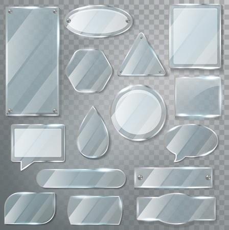 Cornice vuota trasparente lucida trasparente di vetro vettoriale e set di vetreria per l'illustrazione del modello di vetro vuoto realistico del fumetto lucido isolato su sfondo trasparente