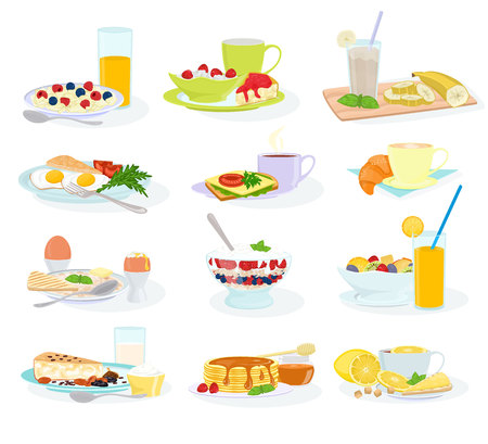 Breakfast vector morning food healthy meal egg cereal cake and pancake with orange juice and coffee illustration set of breakfast table in hotel restaurant isolated on white background.