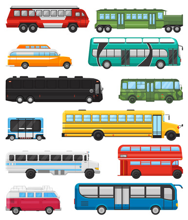 Bus vector public transport tour or city vehicle transporting passengers schoolbus and transportable car illustration transportation set isolated on white background Ilustrace