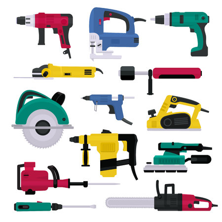 Power tools vector electrical drill and electric construction equipment power-planer grinder and circular-saw illustration machinery set of screwdriver in toolbox isolated on white background Stock fotó
