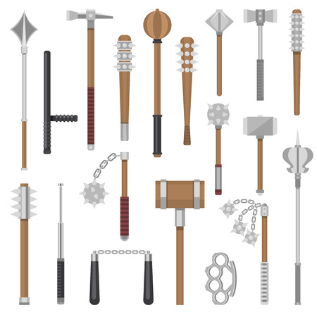 Średniowieczna broń wektor starożytny wojownik ochrony i antyczny metalowy młot ilustracja broń zestaw cep-broń i zbroja maczuga sprzęt kastety nunchaku na białym tle