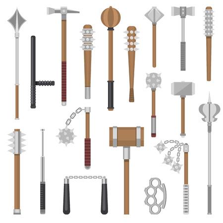 Armas medievales vector antiguo guerrero de protección y antiguo martillo de metal ilustración conjunto de armamento de flail-arma y armadura maza equipo nunchaku nunchaku aislado sobre fondo blanco