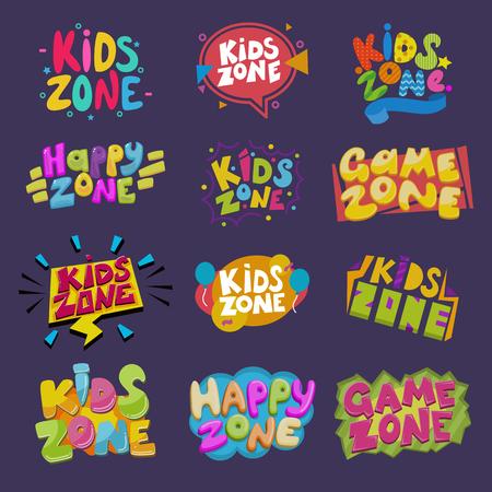 Banner de sala de juegos para niños de vector de sala de juegos en estilo de dibujos animados para niños juego de ilustración de decoración de zona de juego feliz de etiqueta de letras infantiles para decoración de jardín de infantes aislada sobre fondo Ilustración de vector