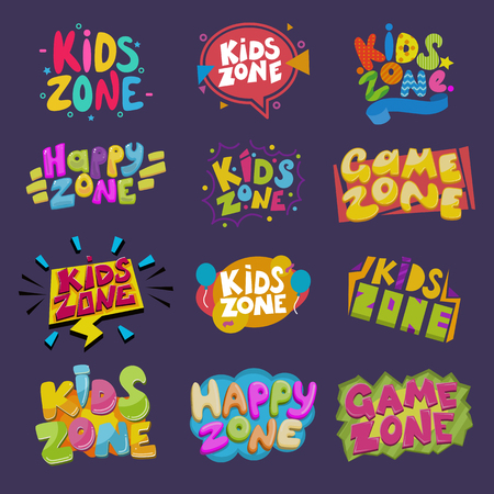 Game room vector kids playroom banner in cartoon style for children happy play zone decoration illustration set of childish lettering label for kindergarten decor isolated on background