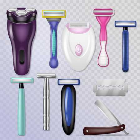 Razor vector realistic sharp blade sharp shaver and personal male shaving equipment illustration hygiene set of woman daily razor-blade bathroom accessory isolated on transparent background.