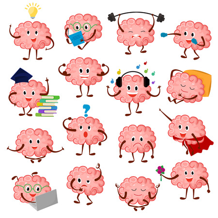 Brain emotion vector cartoon brainy character expression emoticon and intelligence emoji studying illustration brainstorming set of businessman  isolated on white background Çizim