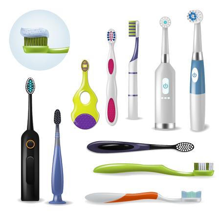 Cepillo de dientes de higiene dental de vector de cepillo de dientes para cepillarse los dientes con conjunto de odontología de ilustración de pasta de dientes de herramienta cepillada realista aislada sobre fondo blanco