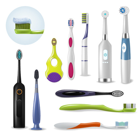 Toothbrushe vector dental hygiene tooth brush for brushing teethwith toothpaste illustration dentistry set of realistic brushed tool isolated on white background Vettoriali