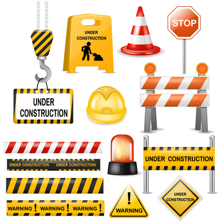 Road barrier vector street traffic-barrier warning and barricade blocks on highway illustration set of roadblock detour and realistic blocked roadwork barrier isolated on white background