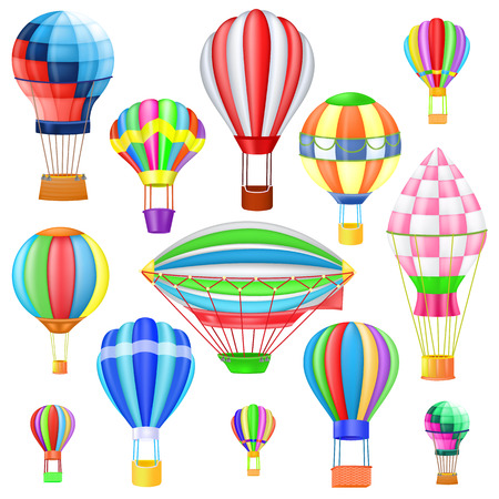 Air balloon vector cartoon air-balloon or aerostat with basket flying in sky and ballooning adventure flight illustration set of ballooned traveling flying toy isolated on white background.