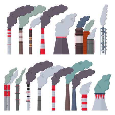 Inquinamento del camino industriale di vettore della fabbrica di industria con fumo nell'insieme dell'illustrazione dell'ambiente della fabbrica del tubo con camino con aria tossica isolata su fondo bianco
