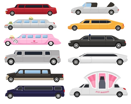 Limousine vector limo luxury car and retro auto transport and vehicle automobile illustration set of automotive citycar transportation isolated on white background illustration. Ilustrace