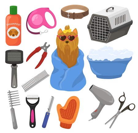 Grooming vector pet dog accessory or animals tools brush hair dryer in groomer salon illustration set of puppy doggy hygiene care equipment isolated on white background