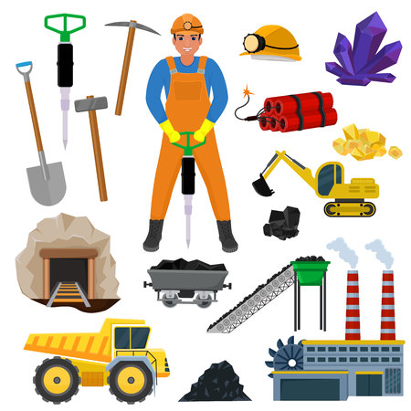 Miner vector mine worker builder character in helmet mining coal minerals in rocks tunnel with excavator or power shovel illustration set of industrial construct equipment isolated on white background