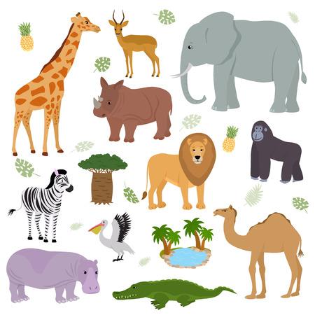Animale africano vettore selvaggio carattere animalesco elefante giraffa gorilla mammifero nella fauna selvatica Africa illustrazione insieme di cammello di ippopotamo leone zebra nel parco safari nazionale isolato su priorità bassa bianca. Vettoriali