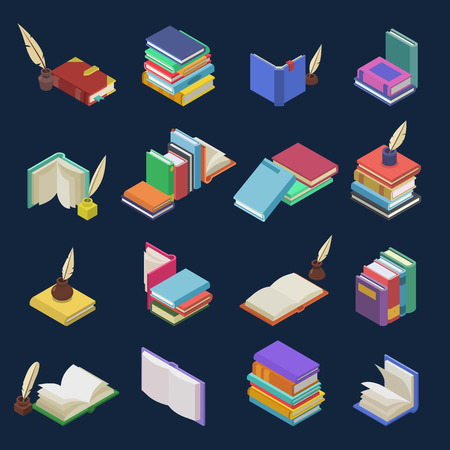 Books vector stack of textbooks and notebooks on bookshelves in library or bookstore illustration isometric set of bookish cover of school literature isolated on background Zdjęcie Seryjne