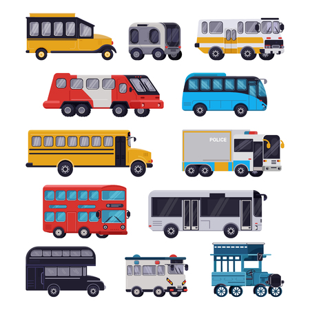 Bus vector public transport tour or city vehicle schoolbus sightseeing-bus transporting passengers illustration transportation set of transportable car isolated on white background Stock Photo