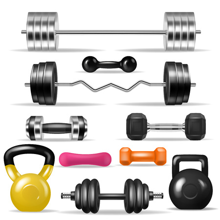 Dumbbell vector fitness gym weight equipment dumb-bells kettlebell illustration bodybuilding set of heavy barbell sport workout isolated on white background Stock Photo