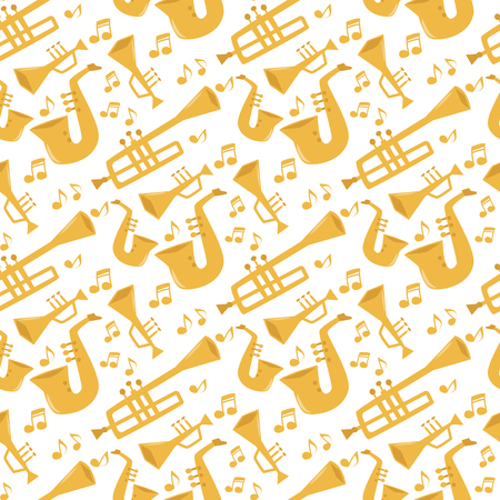 Wind musical instruments tools acoustic musician equipment orchestra seamless pattern background vector illustration Banco de Imagens - 112039809