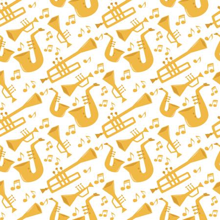 Windmusikinstrumente Werkzeuge akustische Musikerausrüstung Orchester nahtlose Musterhintergrundvektorillustration Standard-Bild