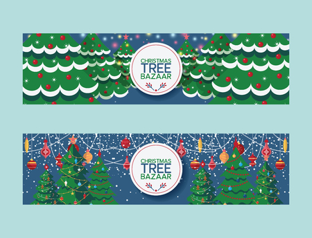 Christmas tree vector merry xmas treetops bazaar market selling traditional New Year pine fir illustration of decorated christmas-tree sale promotion design banner