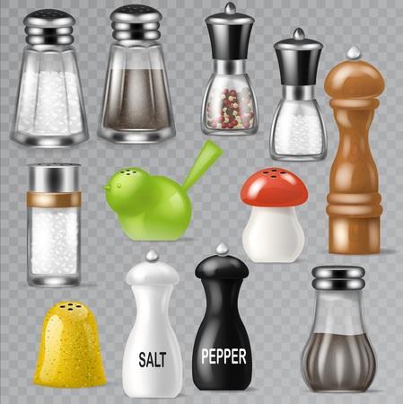 Salzstreuer Vektordesign Pfefferflasche Glasbehälter und Holzküchengerät Salzstreuer Dekor Illustration Set von salzigen Kochzutaten Schwarz-Pfeffer einzeln auf transparentem Hintergrund. Vektorgrafik