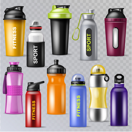Sport bottle vector sportive water bottled drink thermo and fitness plastic energy beverage illustration sporting set of bottling flask isolated on transparent background Illustration