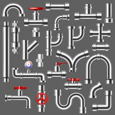 Pipe vector plumbing pipeline or piped tubing construction of metal piping system illustration set of metalic tubes faucet connection with valves isolated on background.
